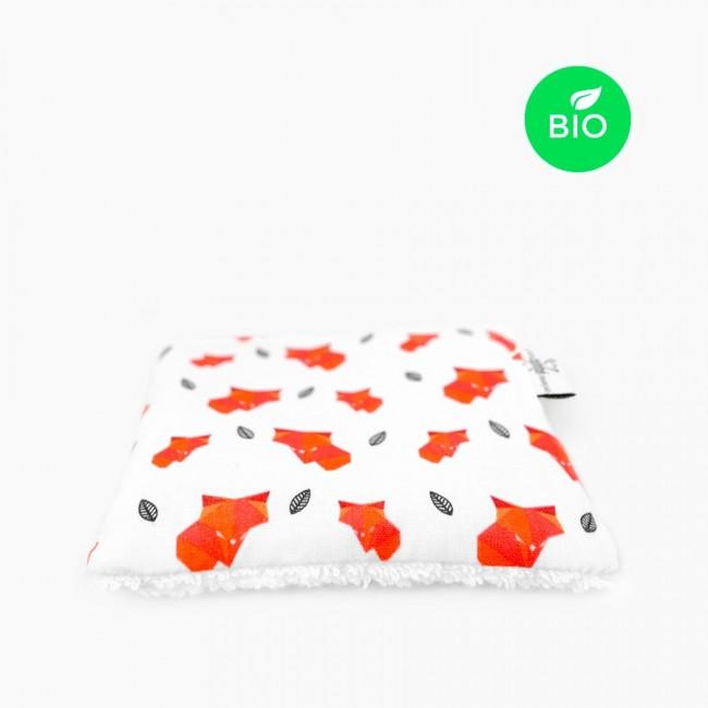 """6x """"Fox le rouky"""" Carrés démaquillants lavables bio"""