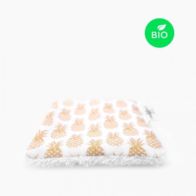 """6x """"L'ananas se dore la pilule"""" Carrés démaquillants lavables bio"""