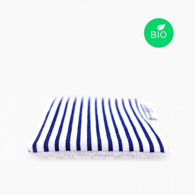 """6x """"Marinière"""" Carrés démaquillants lavables bio"""