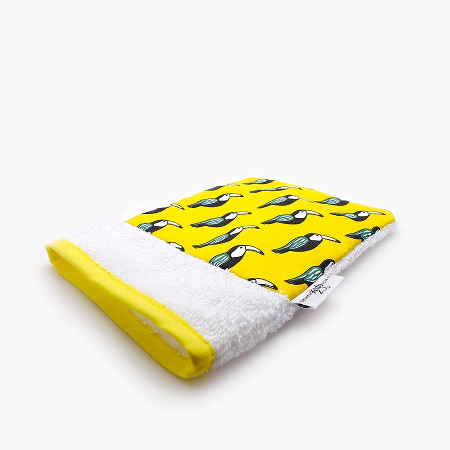 "Organic washcloth ""Toucan"" - Le Petit Carre Francais"