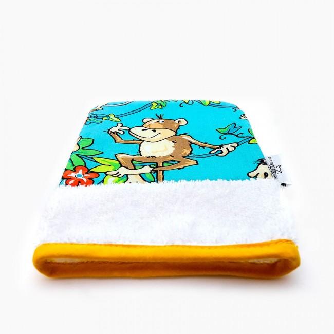 "Organic washcloth - ""Le singe fait sa grimace"""