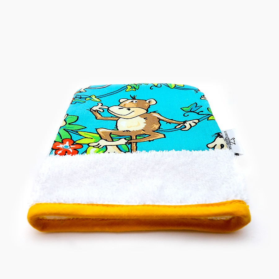 "Organic washcloth ""Singe"" - Le Petit Carre Francais"
